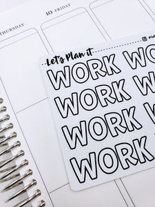 WORK | monochrome JUMBO script | Planner stickers