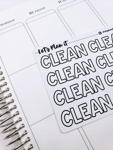 CLEAN | monochrome JUMBO script | Planner stickers