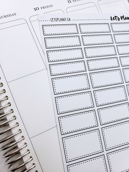 Monochrome square edge box labels | 3 sizes | Stickers for Planners