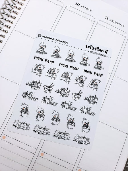 Cora- Meal Prep/ Dinner | pick your size monochrome character