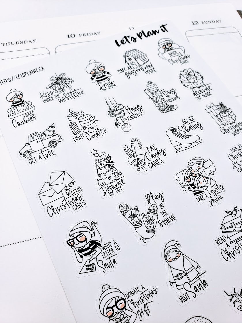 CORA Winter/ Christmas  Bucket List | character stickers