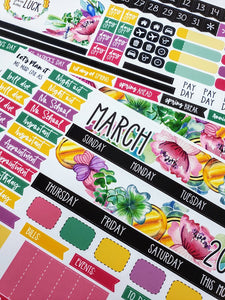 MARCH monthly view kit | for the Lights Planner Action A5 RINGS Monthly layout | Planner Stickers