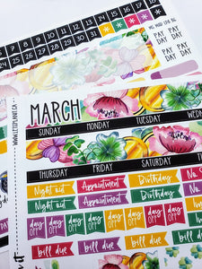 MARCH monthly view kit | for the Lights Planner Action B6 Monthly layout | Planner Stickers