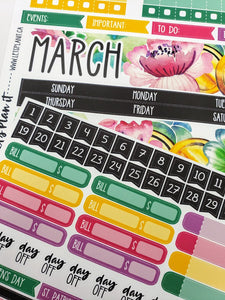 MARCH monthly view kit for the Erin Condren planner | planner stickers
