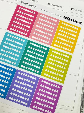 Daily strip Hydration Tracker stickers | rainbow variety | Planner Stickers