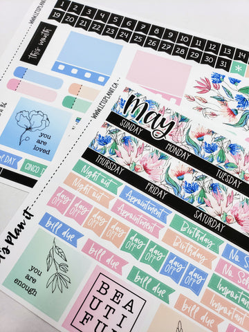 May monthly view kit | for the Lights Planner Action B6 Monthly layout | Planner Stickers