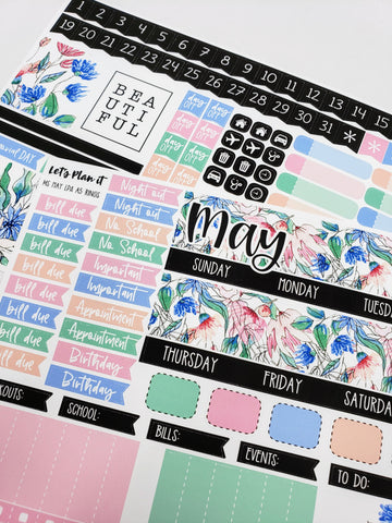 May monthly view kit | for the Lights Planner Action A5 RINGS Monthly layout | Planner Stickers