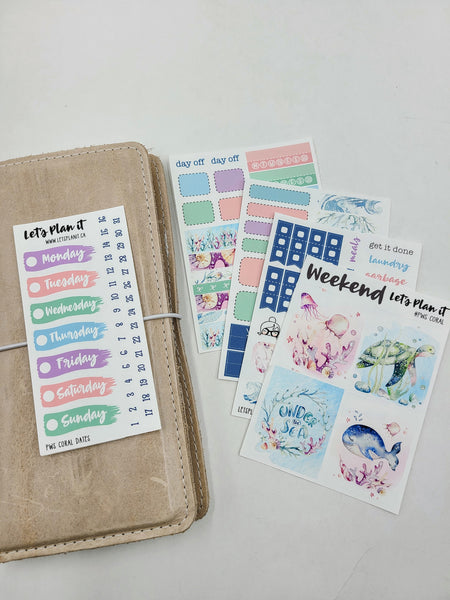 Coral | PP Weeks/ TN/ mini weekly Planner kit