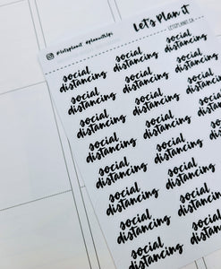Social Distancing | monochrome cursive script | Planner stickers | Stickers for Planners