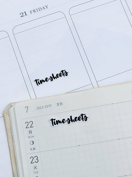 Timesheets | monochrome cursive script | Planner stickers | Stickers for Planners