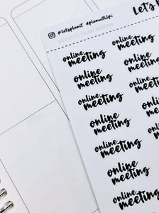 Online meeting | monochrome cursive script | Planner stickers | Stickers for Planners