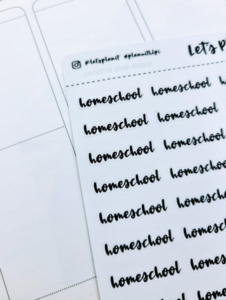 Homeschool | monochrome cursive script | Planner stickers | Stickers for Planners