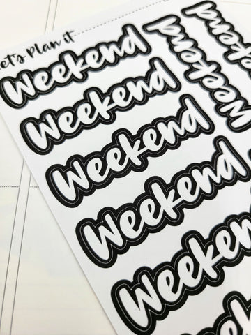 Black outline Weekend Banners | Monochrome blackout stickers