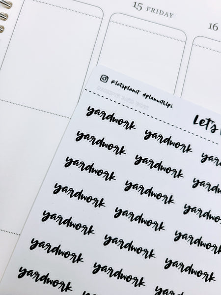 Yardwork | monochrome cursive script | Planner stickers | Stickers for Planners