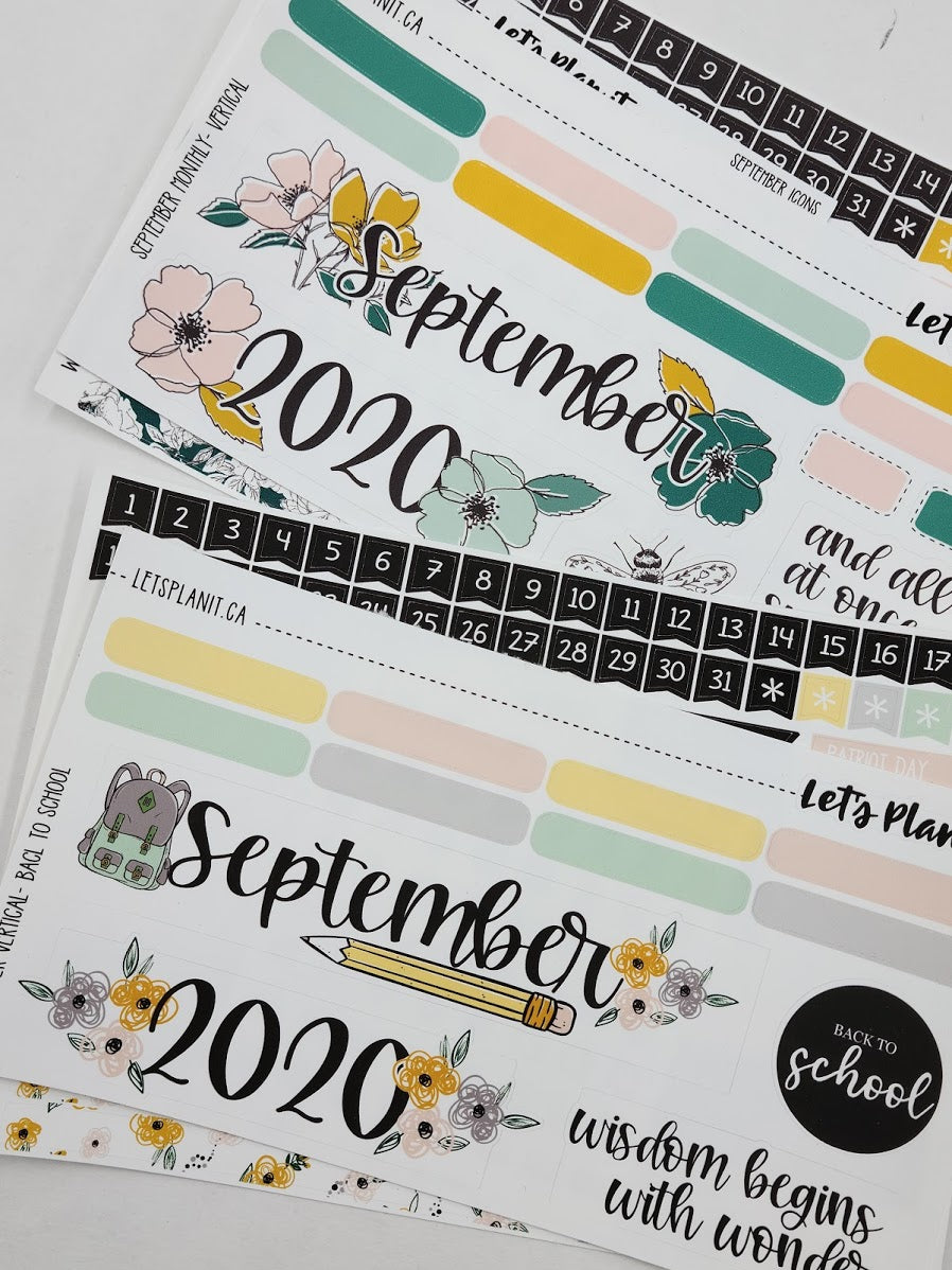 September monthly view kit for the Erin Condren planner | planner stickers