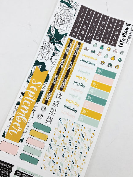 September kit for the Print Pression weeks planner Monthly layout