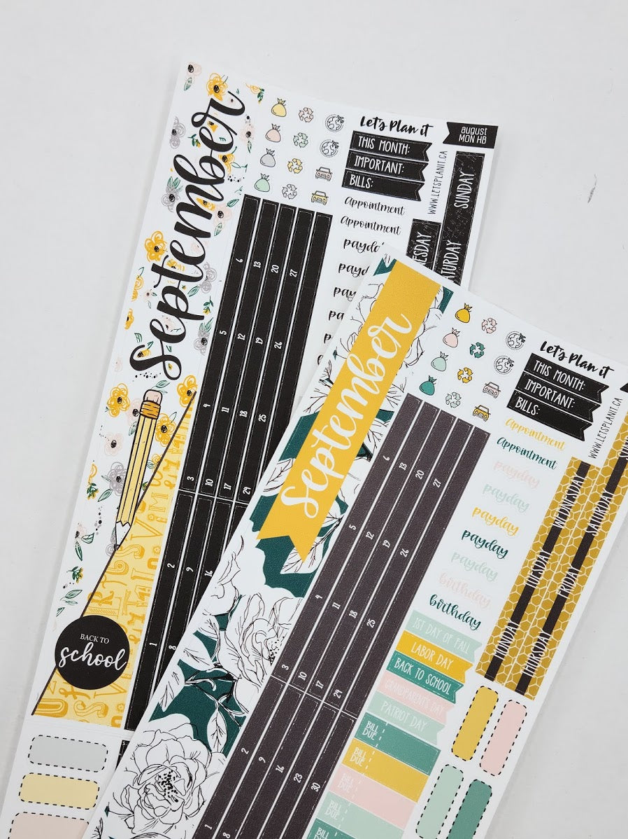 September kit for the Hobonichi weeks planner Monthly layout