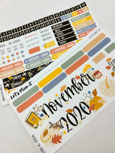 "November monthly view kit for 7x9"" vertical planner 