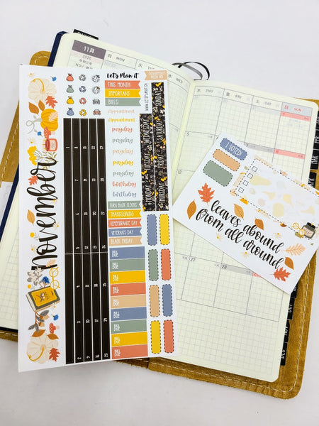 November kit for the Hobonichi weeks planner Monthly layout