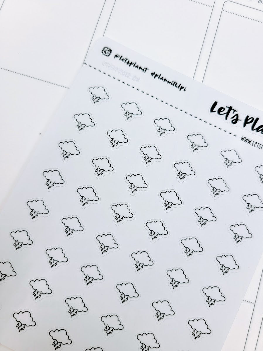 Rain/ weather | monochrome mini icon | Planner stickers