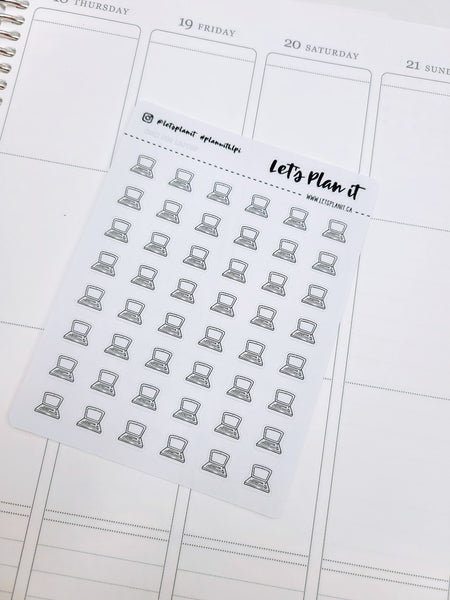 Laptop/ Computer | monochrome mini icon | Planner stickers