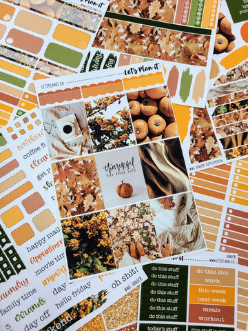 Ginger (fall) -  weekly kit for vertical layout | planner stickers