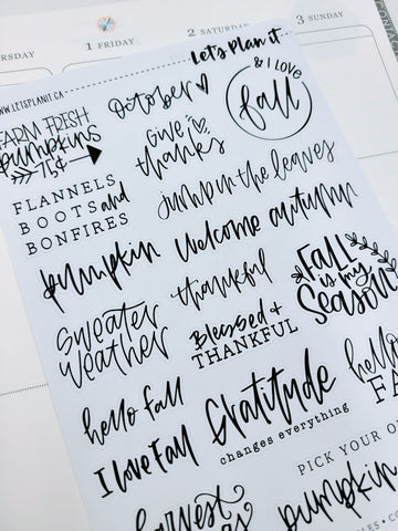 Fall typography/ quotes sheet 1 | monochrome variety