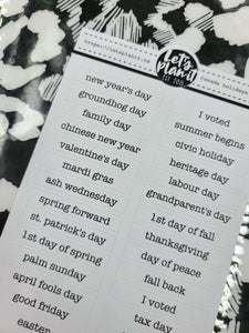 Canadian Holidays | BAR TEXT STRIPS |  Planner stickers