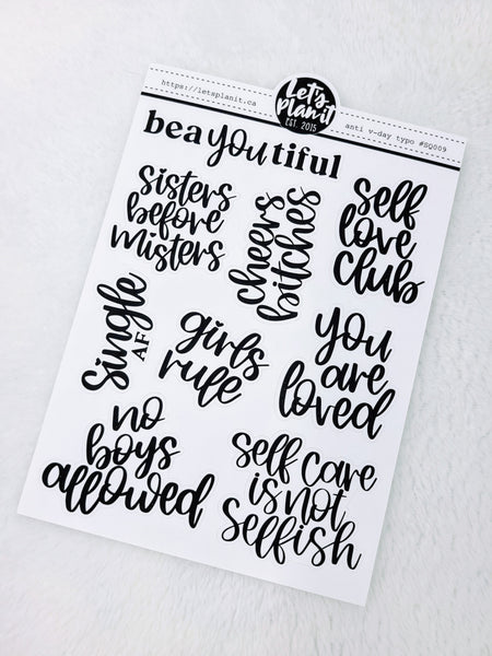 Anti Valentine's Day typography | monochrome variety quote stickers