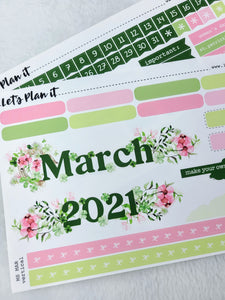 "March monthly view kit for 7x9"" planner 