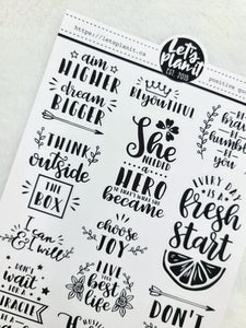 Positive Affirmation quotes sheet 1 | monochrome variety quote stickers
