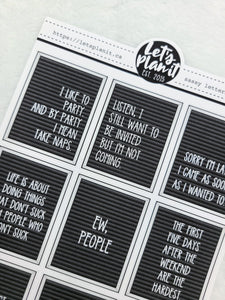 Funny/ Sassy letter board quote boxes