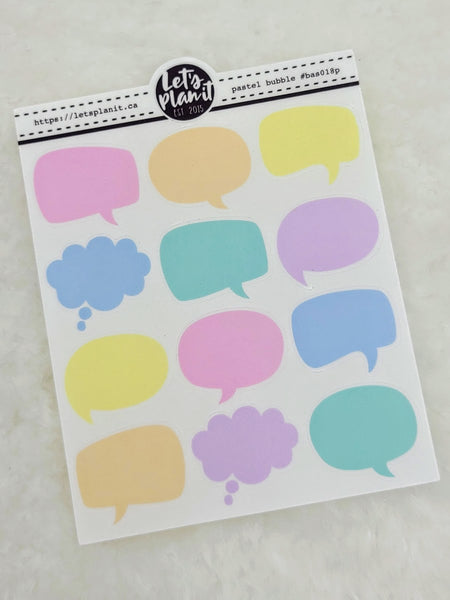 Mini sheets | SPEECH BUBBLES |  transparent or matte | planner stickers.