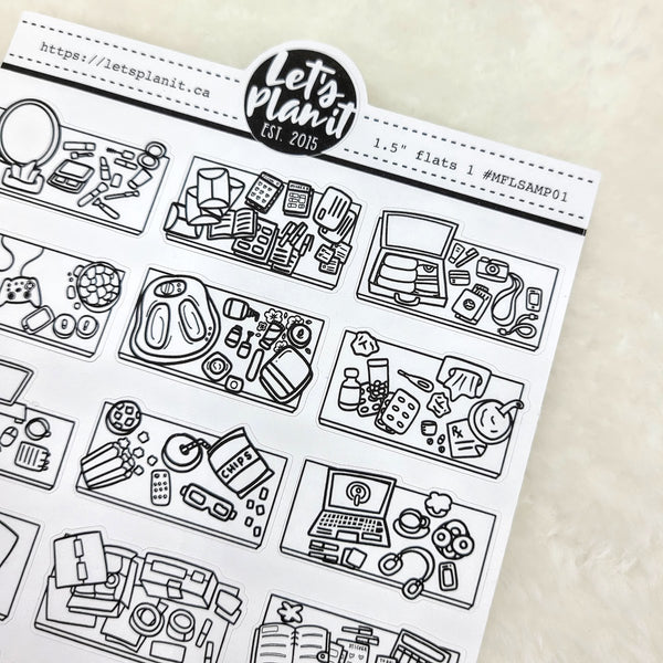 Flat lay sampler set 1 | Monochrome Flat Lay | Planner stickers