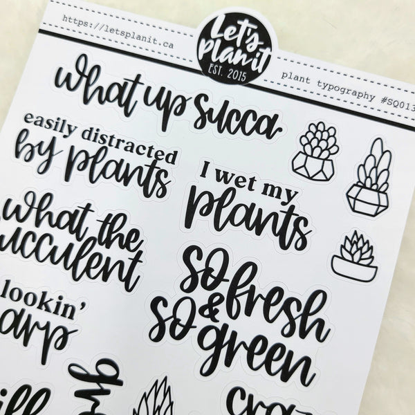 Plant typography | monochrome variety quote stickers