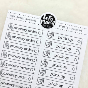 Cleaning/ Chore labels - Order/ Pick Up Groceries | Monochrome Planner stickers