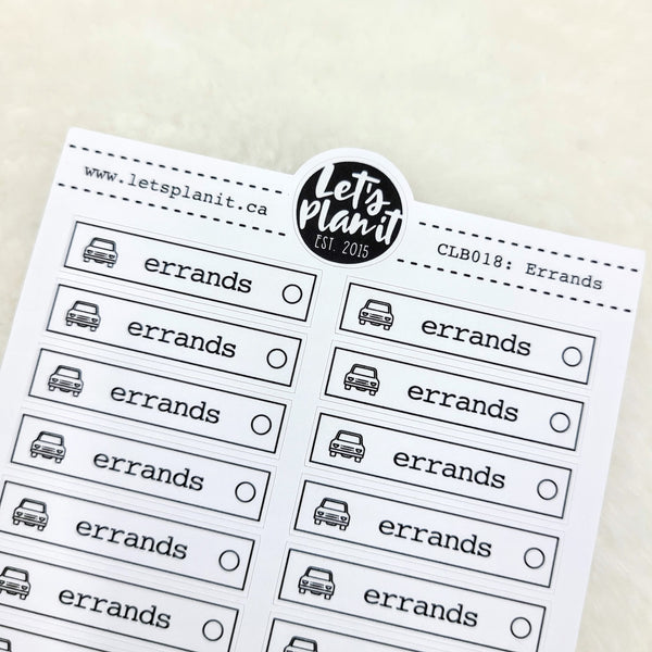 Cleaning/ Chore labels - Errands | Monochrome Planner stickers