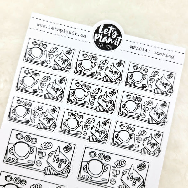 Meal prep/ cooking scene | Monochrome Flat Lay | Planner stickers