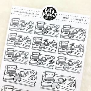 Relax/ Netflix scene | Monochrome Flat Lay | Planner stickers
