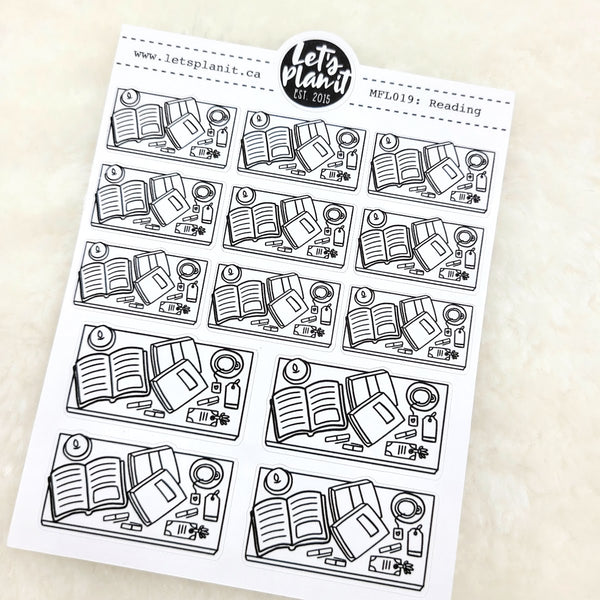 Reading/ Relax scene | Monochrome Flat Lay | Planner stickers