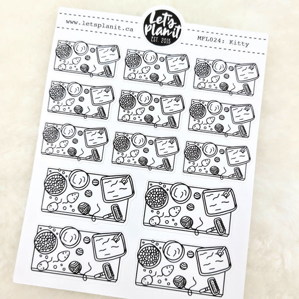 Cat owner scene | Monochrome Flat Lay | Planner stickers