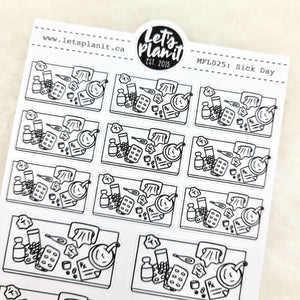 Sick day/ illness/ Spoonie scene | Monochrome Flat Lay | Planner stickers