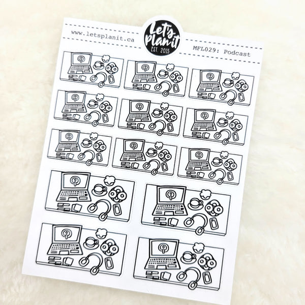 Podcast scene | Monochrome Flat Lay | Planner stickers