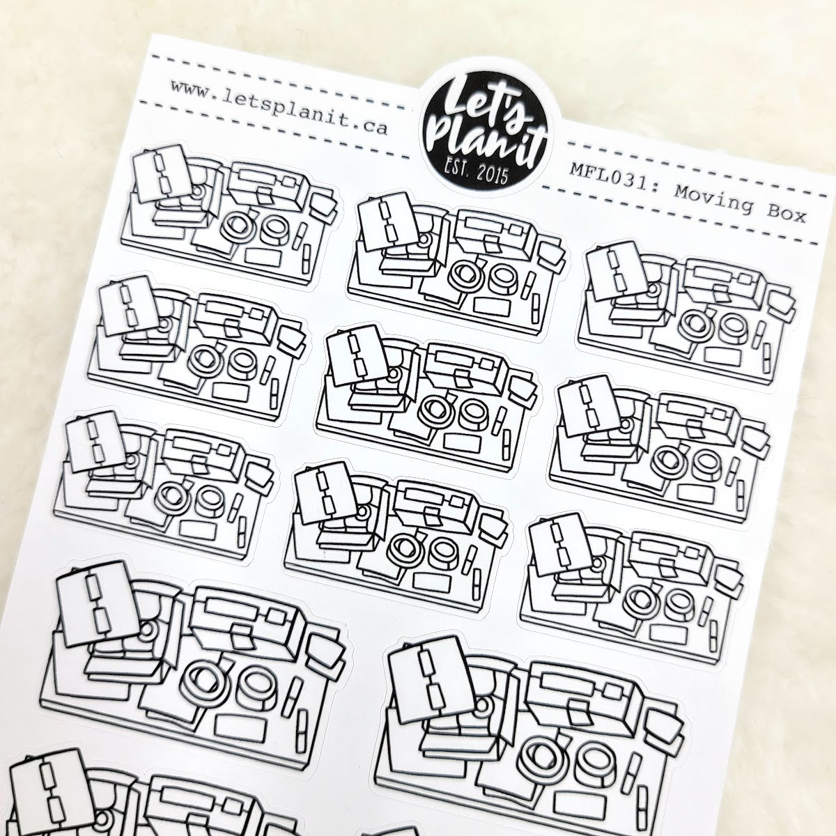 Packing/ Moving scene | Monochrome Flat Lay | Planner stickers