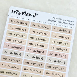 No school | nude bar label script | Planner stickers | Stickers for Planners