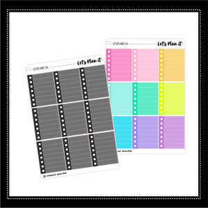 7 line fullbox checklists | dotted line | 2 varieties | Planner Stickers