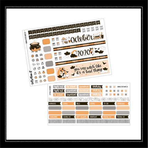 October B6 monthly view kit | for the Lights Planner Action B6 Monthly layout | Planner Stickers