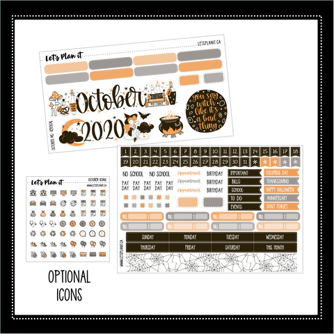 "October monthly view kit for 7x9"" vertical planner 