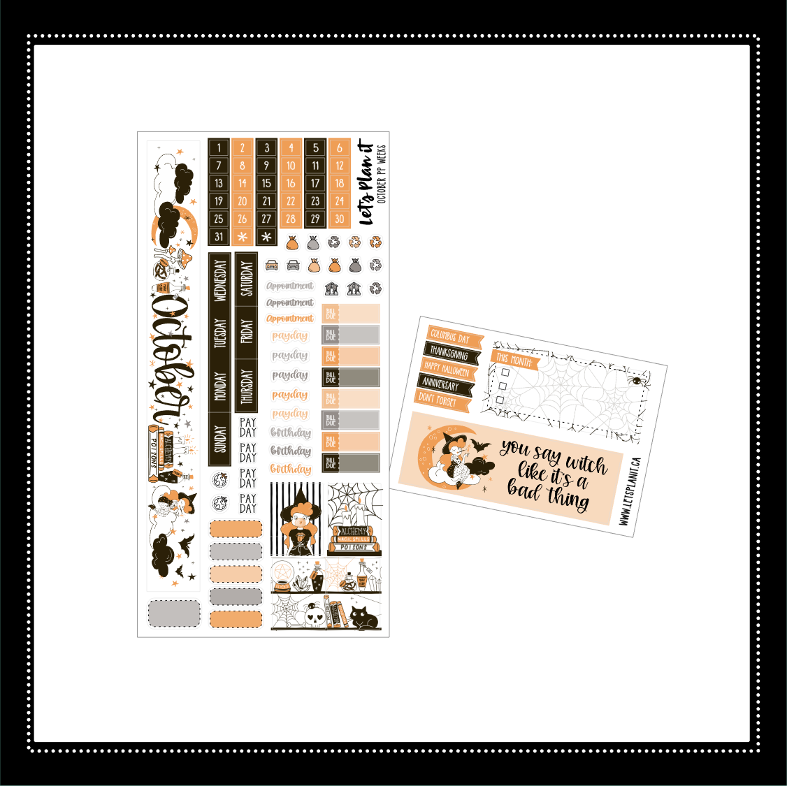 October kit for the Print Pression weeks planner Monthly layout
