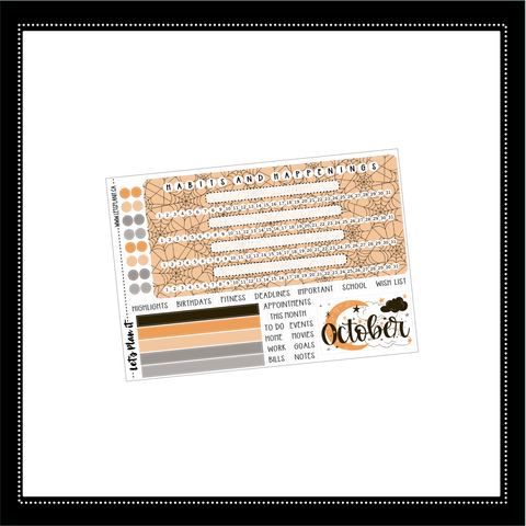 October monthly notes kit for the Erin Condren planner | planner stickers